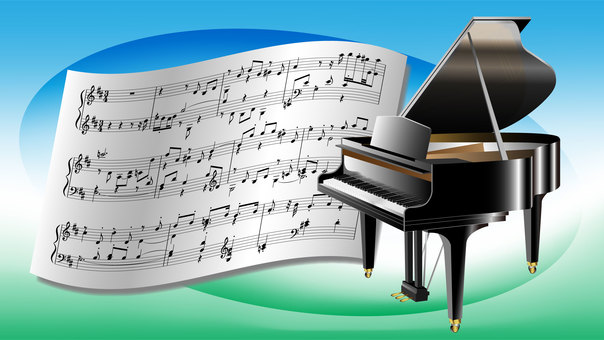 Wallpaper 16x9 (piano and sheet music)