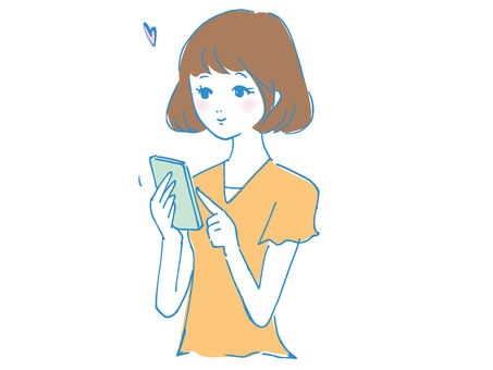 A girl who operates a smartphone
