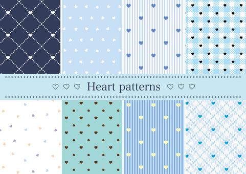 Blue heart pattern set