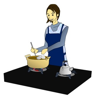 A woman making cooking