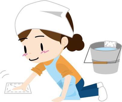 Wiping cleaning yoko (housewife)