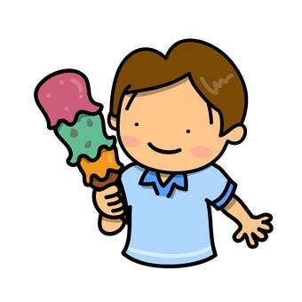 Three stage ice cream and boys