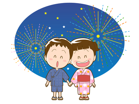 Summer _ fireworks and a boy and girl in a yukata_011