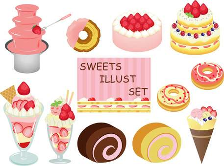 Ichigo sweets illustration set