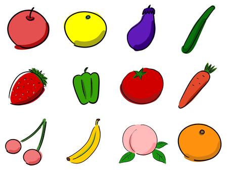 Doodle style handwritten illustration set (vegetables and fruits)