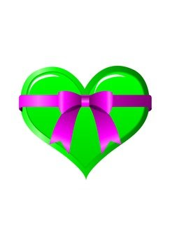 Heart with ribbon (green)