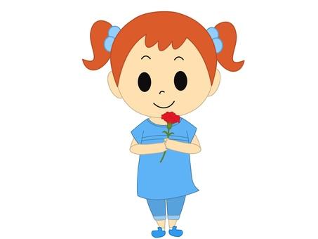 康乃馨藍色的女孩