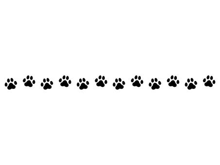 犬の足跡飾り線 モノクロ