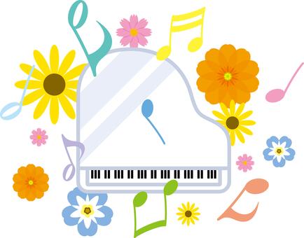 ピアノ 音符 花 グランドピアノ 楽器