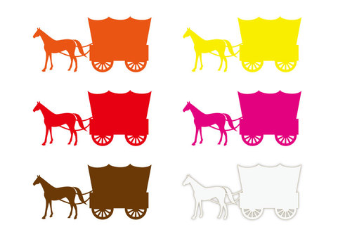 Horse-drawn carriage (covered carriage silhouette 6-color set ②)