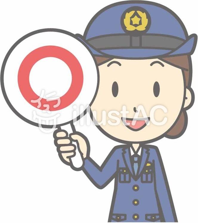 警察官女性a-マル-バストのイラスト