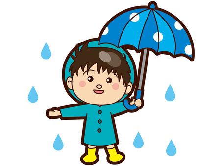 A boy holding an umbrella