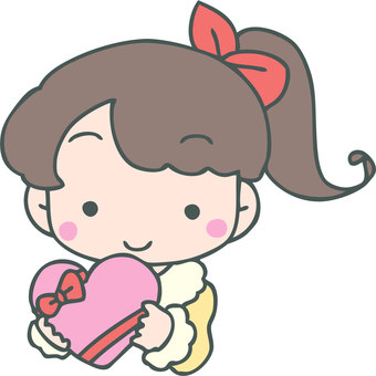 A girl with a heart-shaped gift