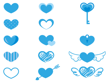 It is a set of materials of blue heart.