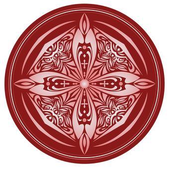 Round, arabesque pattern, dark red