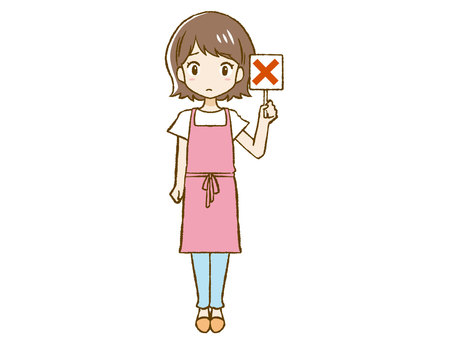 Apron woman giving a cross sign ①