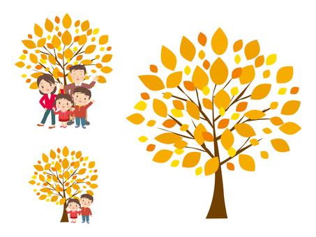 紅葉の木と家族の笑顔