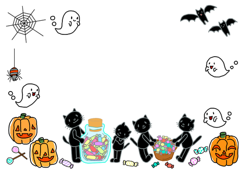 Cat cat Halloween frame ②