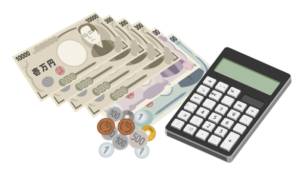 Money and calculator (black