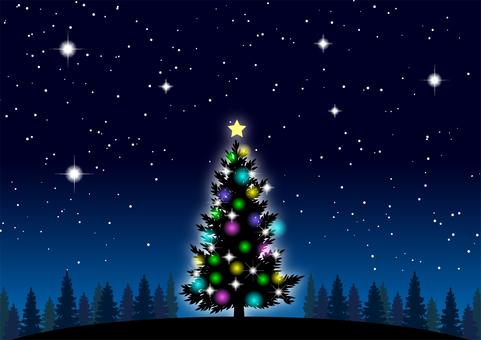 クリスマスツリーと星空背景