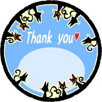 Black cat Thank you card (light blue)
