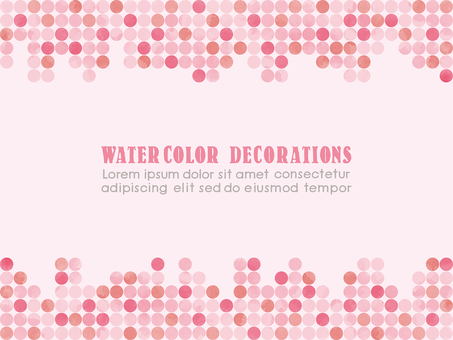 Watercolor touch dot pattern frame pink