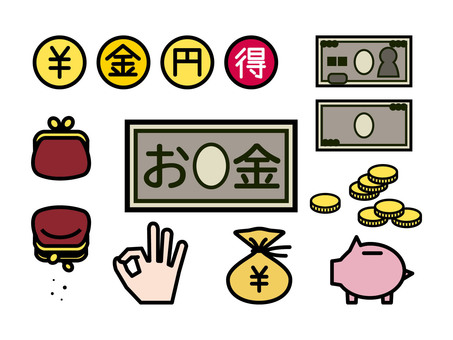 Money icon set colored