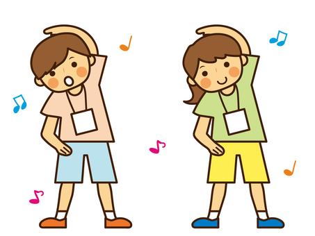 ラジオ体操をする 子供