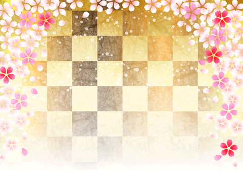 Japanese paper watercolor style cherry blossom and checkered background