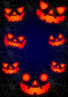闇とクモの巣とジャックオーランタンの顔