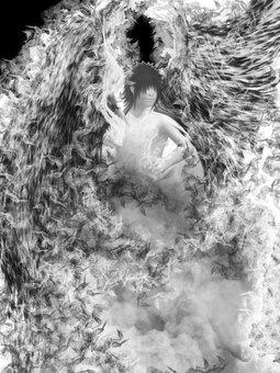 Angel Illustration Monochrome 01
