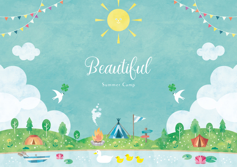 Summer background frame 056 camping watercolor