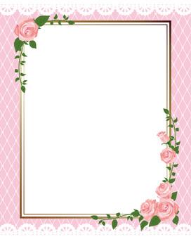 Pink Roses' diagonal frame · Decorative frame length 02