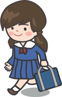 School girls going to school