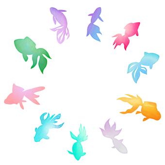 水彩風カラフル金魚セット