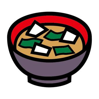 Japanese food icon Tofu and seaweed's miso soup
