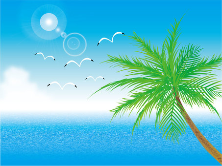 Blue sky, sea and palm tree