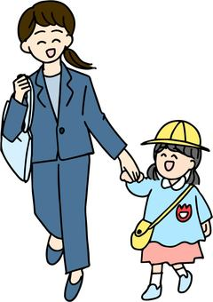 Woman going to pick up a child after work