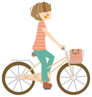 Woman who winds off and rides a bicycle