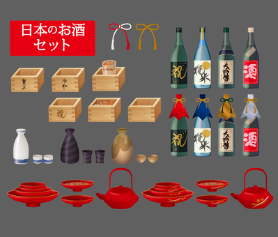 Illustration material set of sake and New Year