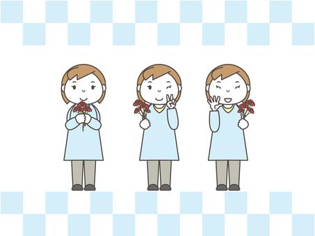 Women set carnation 3 pattern