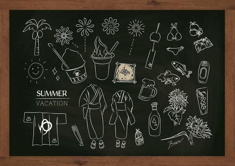 Summer summer sea yukata ice festival blackboard