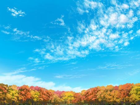 Distant trees and autumn sky (foliage)