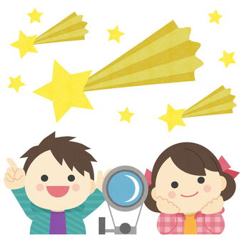 Astronomical observation _ two children _ shooting star illustration