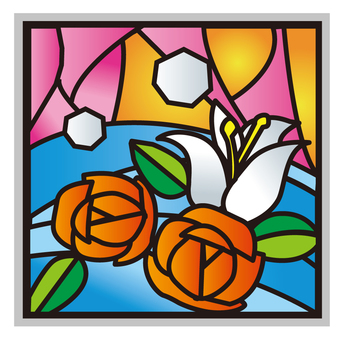 Stained glass of roses
