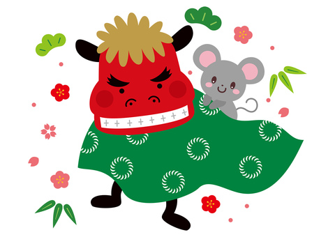 Lion dance and mouse cute illustration