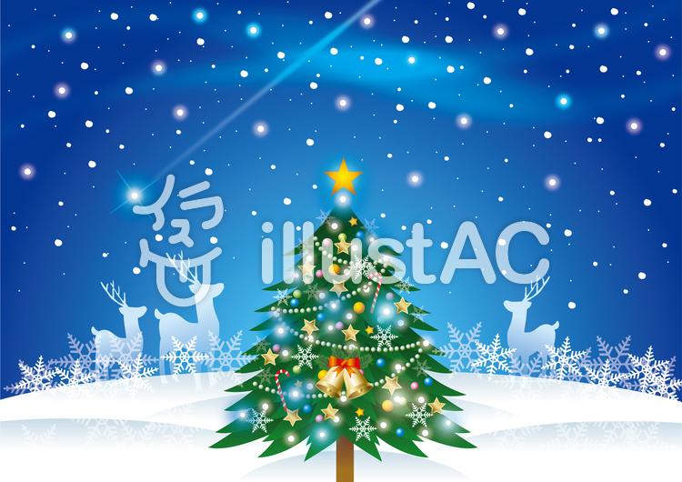 クリスマスツリーのある風景イラスト No 636573無料イラストなら