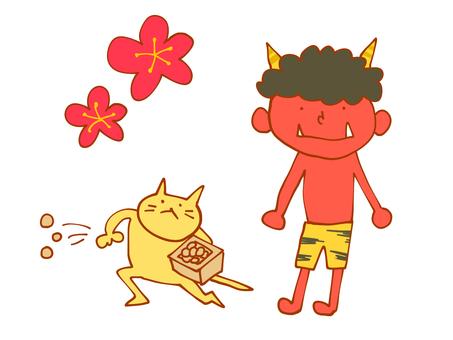 Setsubun hand drawn material set