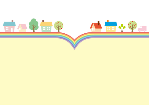 Rainbow line and cityscape