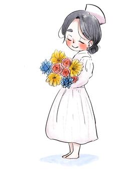 Nurse and flowers